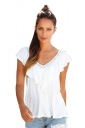 Womens Casual Plain V-Neck Ruffle T-Shirt White