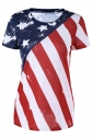 Womens Stars & Stripes Crew Neck Short Sleeve T-Shirt Red
