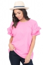 Womens Casual Flare Short Sleeve Crew Neck T-Shirt Pink