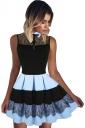 Womens Lace Patchwork High Waist Sleeveless Pleated Skater Dress Blue