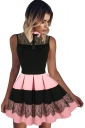Womens Lace Patchwork High Waist Sleeveless Pleated Skater Dress Pink