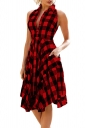 Women Casual Plaid Shirt Sleeveless Irregular Hem Skater Dress Red