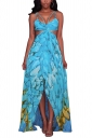 Women Sexy Straps Printed Cut Out Beach Wear Maxi Dress Blue
