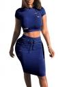 Women Sexy Cut Out Crop Top Draw String Pencil Dress Suit Sapphire Blue