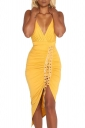 Women Sexy Deep V Neck Pleated Lace Up Club Wear Dress Yellow
