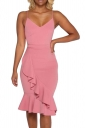 Women Sexy Strap Plain Ruffle Fishtail Club Wear Dress Pink