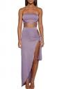 Women Sexy Bandage Bandeau Split Club Wear Dress  Purple