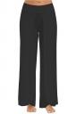 Women Wide Legs Side Slits Yoga Pants Black