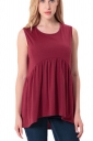Women Casual Crew Neck Sleeveless Pleated Camisole Top Ruby
