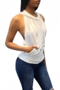 Women Sexy Hooded Backless Sleeveless Loose Top White