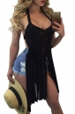 Women Sexy Halter Fringe Cut Out Backless Top Black