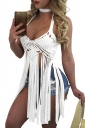 Women Sexy Halter Fringe Cut Out Backless Top White