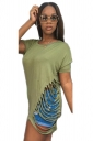 Women Fashion Waist Hollow Out Crew Neck T-Shirt Army Green