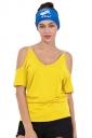 Women Casual Cold Shoulder Plain Short Sleeve T-Shirt Yellow