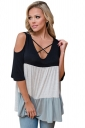 Women Color Block Criss Cross V Neck Cold Shoulder T-Shirt Black