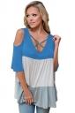 Women Color Block Criss Cross V Neck Cold Shoulder T-Shirt Light Blue