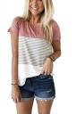 Women Casual Strips Crew Neck T-Shirt Pink