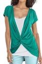 Women Casual False Two-Piece T-Shirt Green