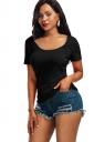 Women Sexy V Back Lace Up Plain T-Shirt Black