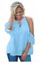 Women Lace Detail Over Sleeve Tank Top Blue