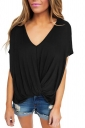 Women Low High Draped Front Knot T-Shirt Black