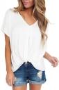 Women Low High Draped Front Knot T-Shirt White