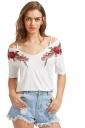 Women Strap V Neck Short Sleeve Flower Embroidered T-Shirt White