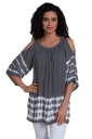Women Cold Shoulder Pleated Half Sleeve Printed T-Shirt Gray