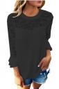 Women Lace Patchwork Chiffon T-Shirt Black
