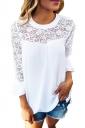 Women Lace Patchwork Chiffon T-Shirt White