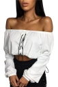 Women Sexy Off Shoulder Strapless Lace Up Long Sleeve Crop Top White