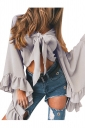 Women Sexy Deep V-Neck Bandage Flare Sleeve Crop Top Gray