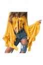 Women Sexy Deep V-Neck Bandage Flare Sleeve Crop Top Yellow