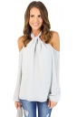Women Sexy Halter Cold Shoulder Long Sleeve Chiffon Blouse Light Blue