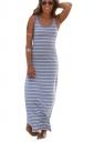 Women Casual Stripes Sleeveless Maxi Dress Gray