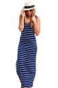 Women Casual Stripes Sleeveless Maxi Dress Sapphire Blue