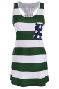 Women Casual Stripes Stars Flag Printed Camisole Top Green
