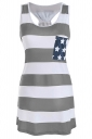 Women Casual Stripes Stars Flag Printed Camisole Top Gray
