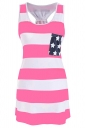 Women Casual Stripes Stars Flag Printed Camisole Top Pink