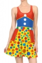 Women Halloween Clown Costume Printed Tank Skater Dress Blue