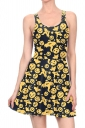 Women Halloween Pumpkin Ghost Printed Tank Skater Dress Black