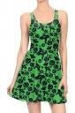 Women Halloween Pumpkin Ghost Printed Tank Skater Dress Dark Green