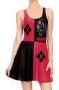 Women Halloween Harley Quinn Tank Skater Dress Dark Red