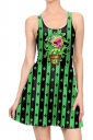 Women Halloween Chomper Printed Tank Skater Dress Green