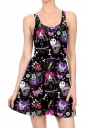 Women Halloween Sew Rockin Printed Tank Skater Dress Purple