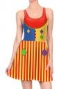 Women Halloween Clown Dot Printed Tank Skater Dress Red