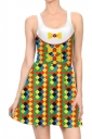 Women Halloween Clown Costume Printed Tank Skater Dress White