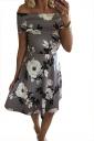 Women Sexy Off Shoulder Floral Printed Skater Dress Gray