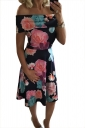 Women Sexy Off Shoulder Floral Printed Skater Dress Watermelon Red