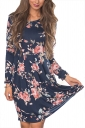 Women Crew Neck Floral Printed Long Sleeve Skater Dress Navy Blue